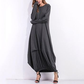 2018 Winter Women Long Sleeve Casual Plain Long Maxi Dress Vintage Kaftan Plus Size Full-Length Cotton Party Dresses