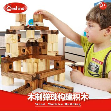 wooden pipe building blocks of the track ball toy