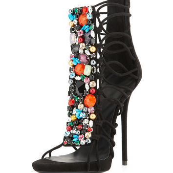 Jeweled Suede T-Strap Sandal/Bootie, Black/Multi