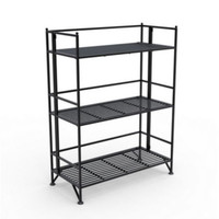 Contemporary Three-Shelf Bookcase Foldable Home Office Furniture Black Finish