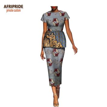 spring african dress for women AFRIPRIDE short sleeve mid-calf length women casual dress with removeable ruffles A1825041