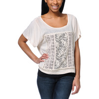 Element Blueprint Lace Inset Natural Dolman Top at Zumiez : PDP