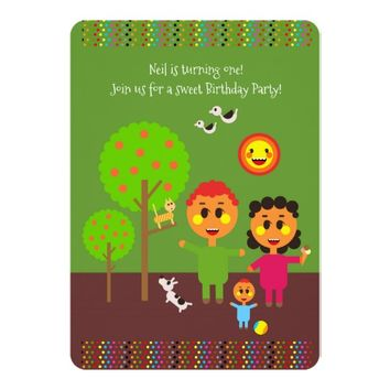 Strolling with first birthday party invitation