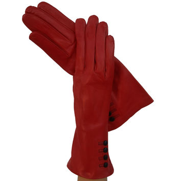 Ferrari Red w/ 4 buttons above the wrist Womens Italian Leather Gloves 4-button