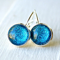 sparkly blueberry silver lever back earrings