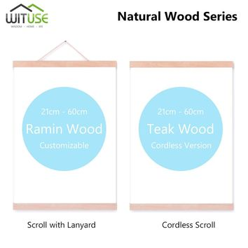 1 Pair Magnetic Wooden Picture Photo Hanging Frame DIY Minimalist Poster Scroll Painting Hanger Framework Wall Art Decor 21-60cm