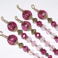Pink and Gold Christmas Icicle Ornaments Old Fashioned Holiday Decor Pink Ornaments