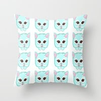 Miss Kitty Throw Pillow by Kathleen Sartoris