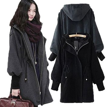 2017 New Arrivals Korean style Black Women Jacket Coat Female Winter Autumn Zipper Lantern Sleeve Wool Long Hat Parka