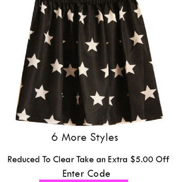 Reduced To Clear - Short A line Pleated Print Skirt - 7 Styles