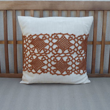Brown Throw Pillow Cover, Decorative Pillow, Crochet Pillow, Fall Pillow, Pillow Cover 18 x 18, Vintage Crochet Pillow, Lace Pillow