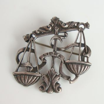 Cini Sterling Silver Libra Scale of Justice Pin Zodiac Series Jewelry
