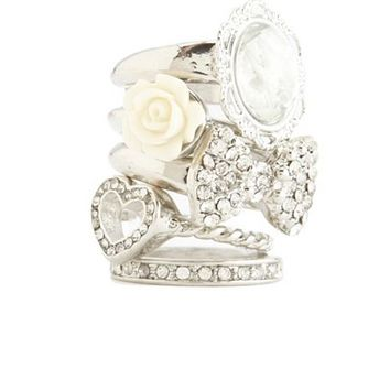 Bow Cameo Stackable Ring Set: Charlotte Russe