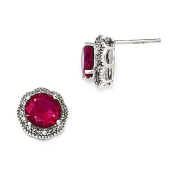 Cheryl M Sterling Silver CZ And Created Ruby Halo Earrings