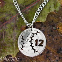 Baseball with custom Jersey numbers quarter hand cut by NameCoins