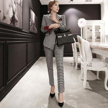 ONETOW Womens two piece pant suits Women casual  business suits formal work wear sets uniform blazers slim plaid pant suits
