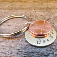 PENNY Key Chain OUR LOVE 2 Brass Keychains Hand Stamped Charm Choose Your Own Penny Years from 1950 to 2014 MIxed Metals Anniversary Couples