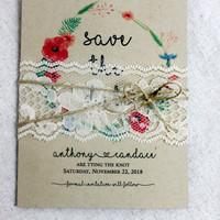 Boho Save the Date Card set of 65 • Lace Wedding Save the Dates • Rustic Save the Date • Save the Date Cards • Tying the Knote Save the Date