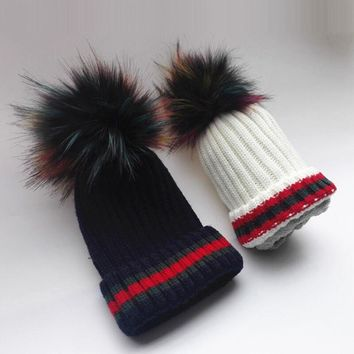 New striped children knitted beanies Hot winter thick warm rainbow faux fur pom pom knitting hat skullies boys girls caps