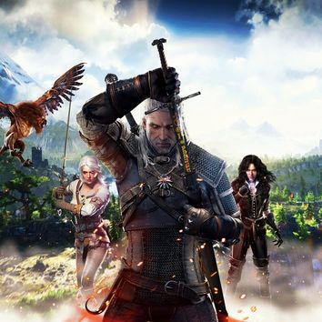 Home decoration the witcher 3 wild hunt Silk Fabric Poster Print XD085