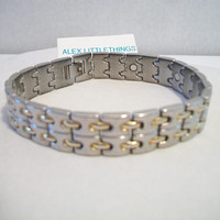 Two Tone Magnetic Link Bracelet Unisex Jewelry Fashion Accessories For Him For Her