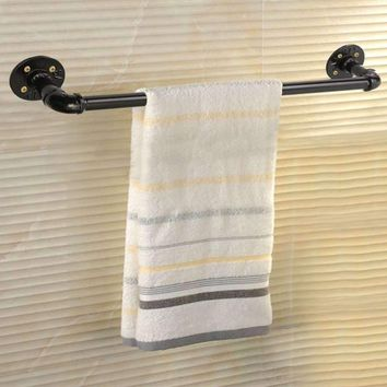 Vintage 60cm Bathroom Towel Bar Rack Hanger Holder Black Towel Shelf Shower Room Iron Storage Shelves