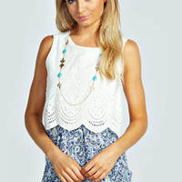 Yazzmin Broderie Anglaise And Paisley Playsuit