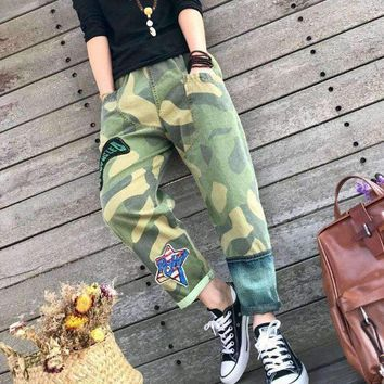 Fun With Green Boho Camouflage Trousers Hip Hop Pants Hippie Jeans Women Clothing Hip-hop Japan Style Gypsy