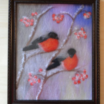 "Wool Painting ""Two bullfinches"", Wool Art, Felt Painting, Wall Art, Fiber Art Wall Hanging, Home Decor, Framed Wall Art, Handmade Art"