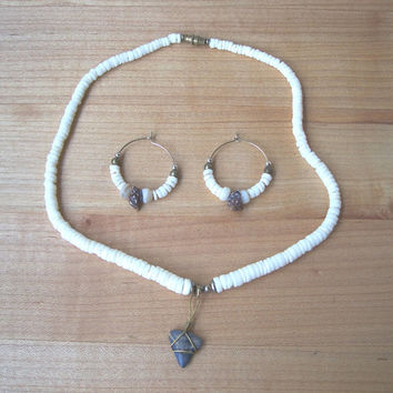 Vintage Puka Shell and Wire Wrap Shark Tooth Necklace with Earrings