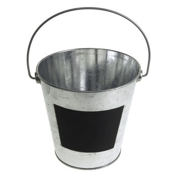 Galvanized Metal Bucket with Chalkboard Label, 5-3/4-Inch, Silver