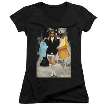 Clueless Juniors V-Neck T-Shirt Cher Oops My Bad Black Tee