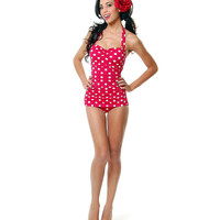 Vintage Inspired Swimsuit 50's Style Pin Up Red With White Polka Dot Bathing Suit - 6-18 - Unique Vintage - Prom dresses, retro dresses, retro swimsuits.