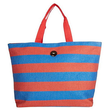 Cappelli Straworld Extra Large Toyo Striped Beach Town Tote Bag (Red & Blue)