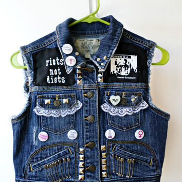 S Feminist Vest // Riot Grrrl Fist Studded Punk Jacket // Leopard Print My Body My Choice