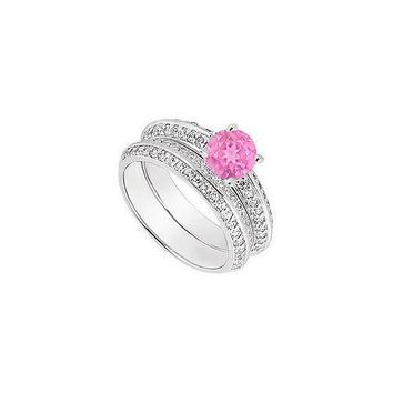 14K White Gold Pink Sapphire & Diamond Engagement Ring with Wedding Band Sets 1.00 CT TGW