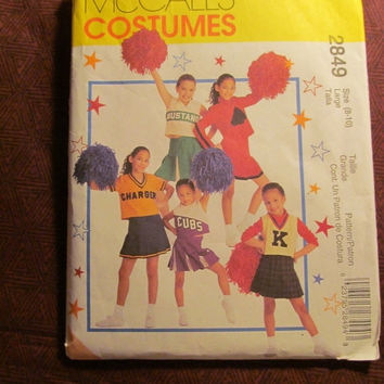Sale Uncut McCall's Sewing Pattern, 2849! 8-10 Small/Medium/Girls/Kids/Child Cheerleader Uniform/Drill Team Outfit/Costumes/Skirts/Tops/Unde