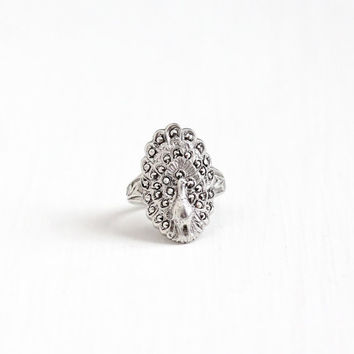 Vintage Art Deco Sterling Silver Marcasite Peacock Ring - 1930s Size 6 Sparkly Statement Oval Shield Filigree Cocktail Uncas Jewelry