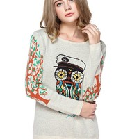 TopStyliShop Women's Owl Pattern Round Neck Red Sweater with Tree Pattern Sleeve D1126