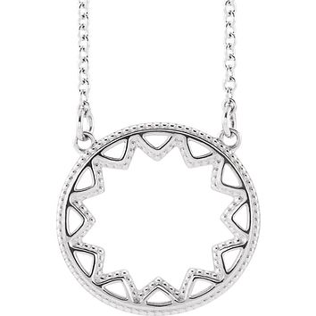 Sterling Silver 15mm Milgrain Sun Adjustable Necklace, 16-18 Inch