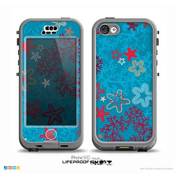 The Colorful Blue and Red Starfish Shapes Skin for the iPhone 5c nüüd LifeProof Case