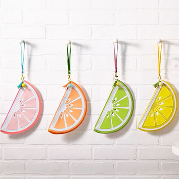 Slice of Citrus Fruit Pouch Wristlet