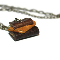 Miniature Library Necklace - Leather Books -Rustic Library books -Teacher Gift - Woodland gifts