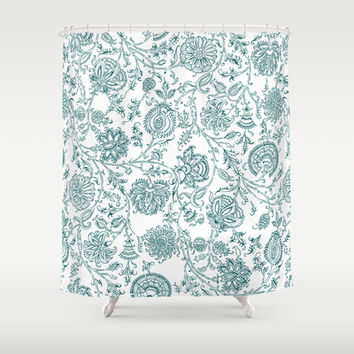 Teal and White Vintage Floral Pattern Shower Curtain by Enduring Moments