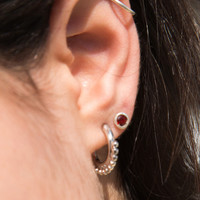 Mini Silver Beaded Hoop Earrings - Jewelry - Accessories