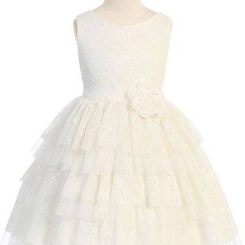 Girls Ivory Floral Lace Dress with Tiered Lace & Tulle Skirt 2T-12