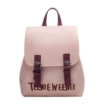 New PU Leather Backpack Letter Embroidery Backpack Women Preppy Rucksack Chic Girls School Bags for Teenage Girs Mochila Escolar