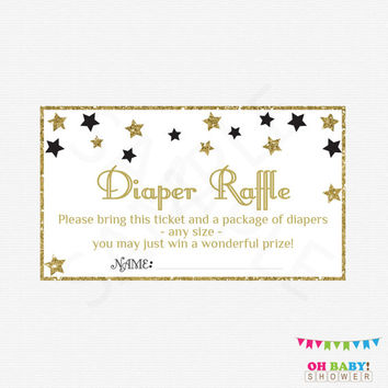 Black Gold Baby Shower, Diaper Raffle Ticket, Twinkle Twinkle Little Star Baby Shower, Diaper Raffle Sign and Raffle Cards, Printable, STBLG