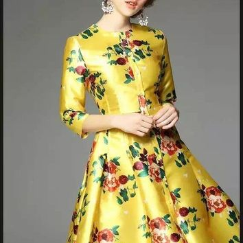 Floral Print Yellow Dress
