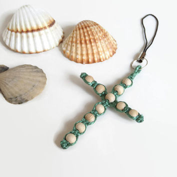 cross cell phone charm, macrame pendant for cell phones from pearl cotton and wooden beads, macrame key ring pendant